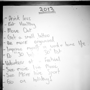 My brother's New Year's resolutions for 2013